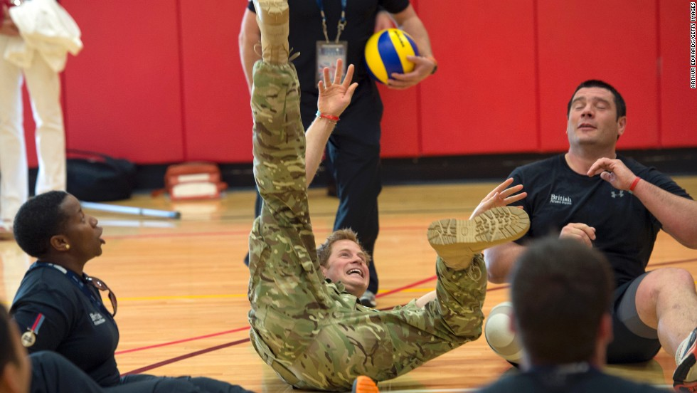 Prince Harry plays sitting volleyball with British soldiers during the Warrior Games in Colorado Springs on May 11.