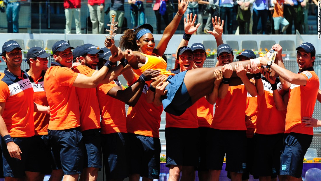Williams celebrates after winning the Madrid Open final against  Maria Sharapova in 2013.