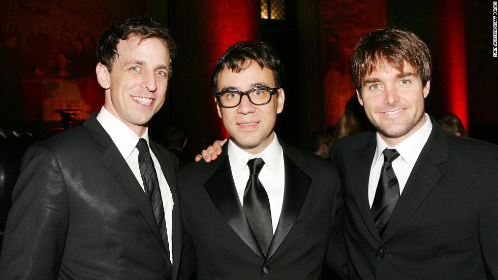 """Saturday Night Live"" cast members Meyers, from left, Fred Armisen and Will Forte attend the American Museum of Natural History's Annual Museum Gala, on November 16, 2006, in New York City."