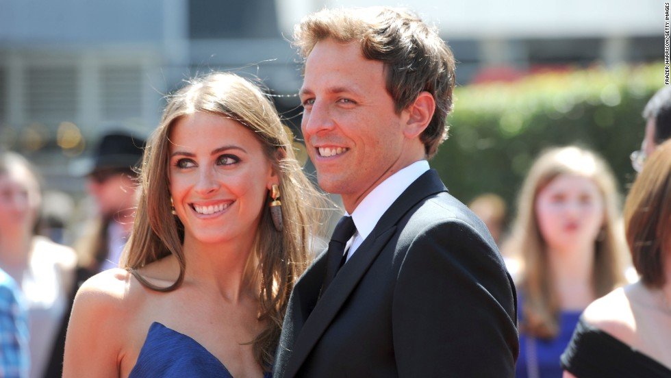 Meyers attends the 62nd Primetime Emmy Awards on August 21, 2010, in Los Angeles with longtime girlfriend Alexi Ashe.