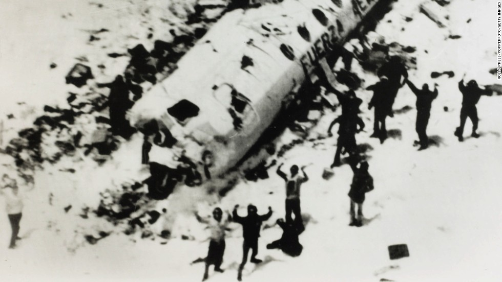 Sixteen people are rescued 72 days after a Uruguayan Air Force plane crashed in the Andes Mountains on October 13, 1972. They endured frigid temperatures and forced themselves to eat the flesh of dead friends to sustain themselves. A dozen of the 45 passengers on board died in the crash. Others later succumbed to their injuries.