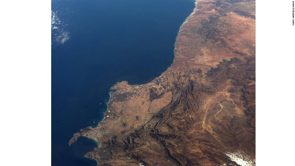 "This photo shows ""the <a href=""https://twitter.com/Cmdr_Hadfield/status/333846272823947264/"" target=""_blank"">southwest corner of Africa</a>, from space."""