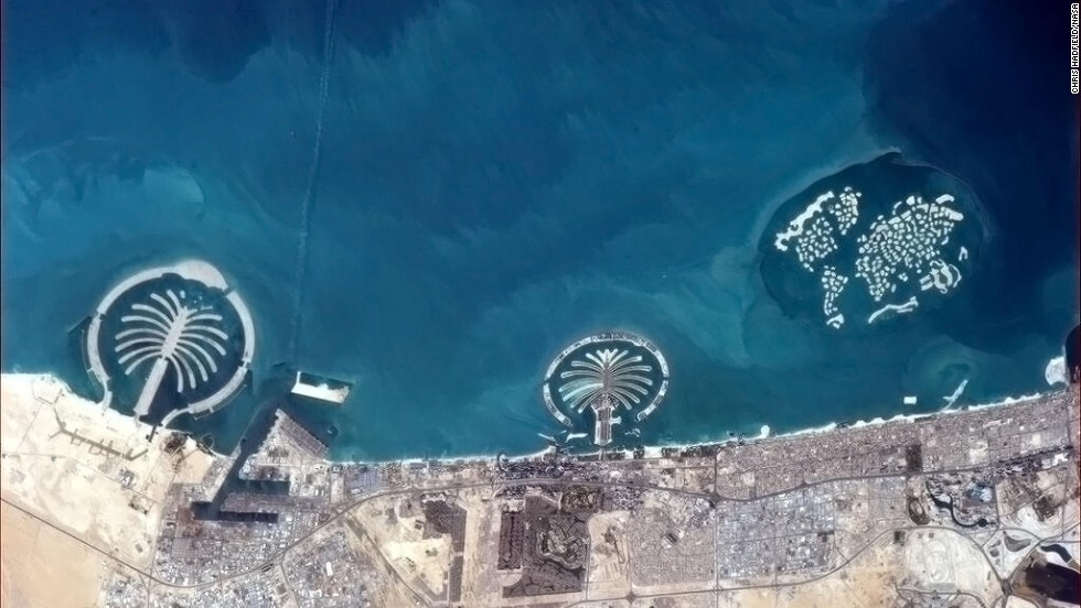 """Some of the things we build for ourselves are puzzlingly visible from space,"" wrote Hadfield, referring to <a href=""https://twitter.com/Cmdr_Hadfield/status/314506287092224000"" target=""_blank"">manmade islands in Dubai</a> as seen on March 20."
