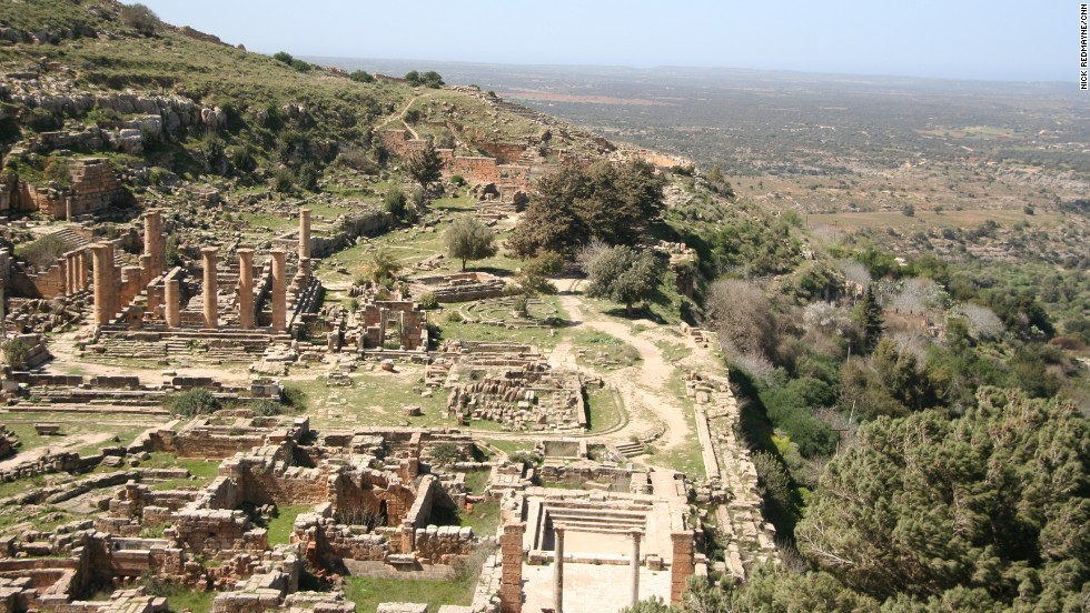 The ruins of Cyrene reflect enduring Greek influences on language and architecture in Libya; its Temple of Zeus is larger than the Parthenon in Athens. The site is about 120 miles (nearly 200 kilometers) east of Benghazi.
