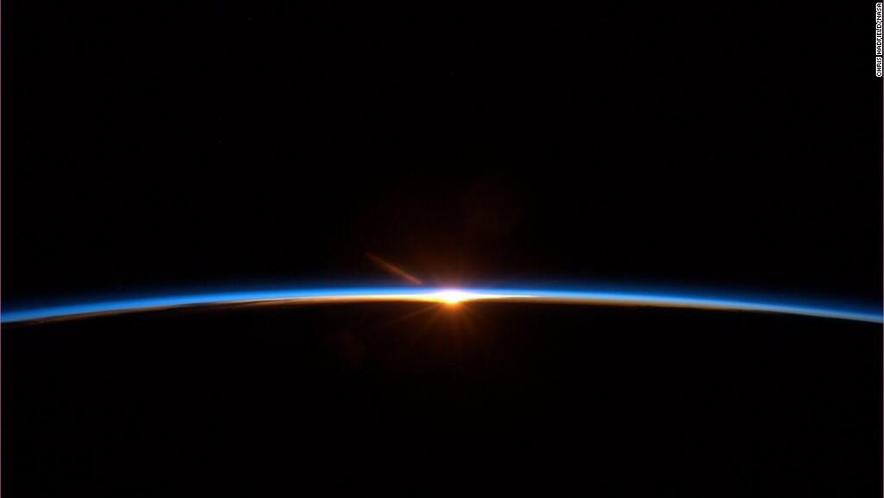 "At the very end of the trip, on May 13, Chris Hadfield tweeted this image: ""Spaceflight finale: To some this <a href=""https://twitter.com/Cmdr_Hadfield/status/334011022815944705"" target=""_blank"">may look like a sunset</a>. But it's a new dawn."""