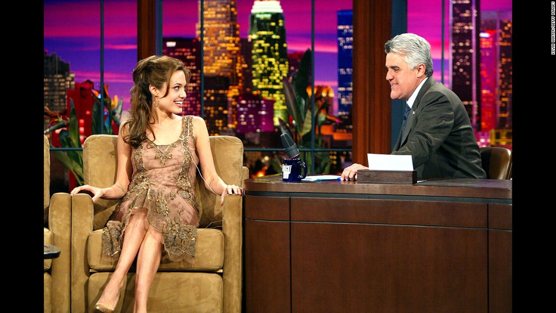"Jolie appears on ""The Tonight Show with Jay Leno"" in March 2004."