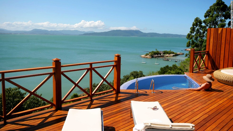 The resort's Emerald Villa has a private deck with a fan-shaped plunge pool.