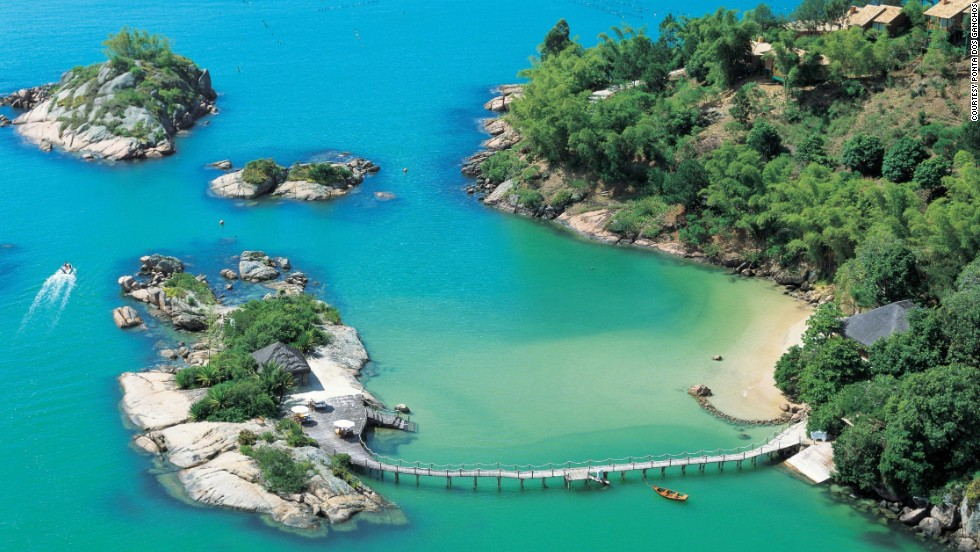 "<a href=""http://www.pontadosganchos.com.br/"" target=""_blank"">Ponta dos Ganchos</a> in Brazil's Santa Catarina is tucked away on a privately owned peninsula."