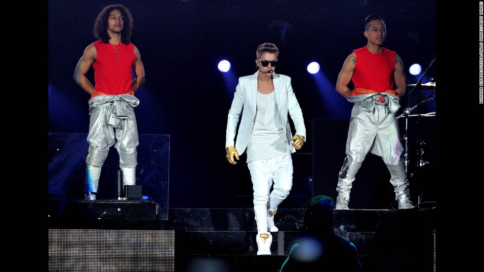 Justin Bieber performs at Soccer City, also known as the FNB Stadium, in Johannesburg, South Africa, on Sunday, May 12. After the show, thieves stole the contents of a walk-in safe, South African police said Tuesday.