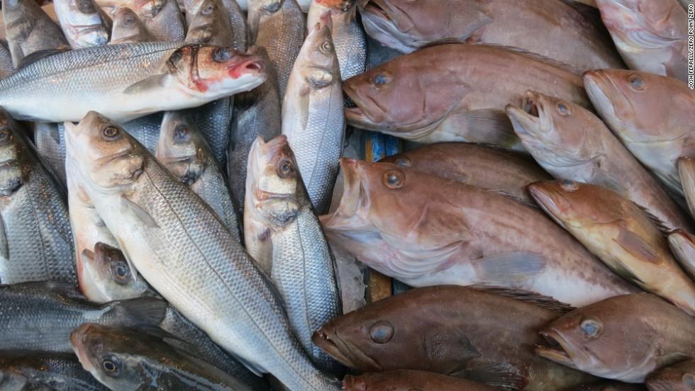 A selection of of fresh fish at the restaurant Barakoda on the Tripoli Coast.