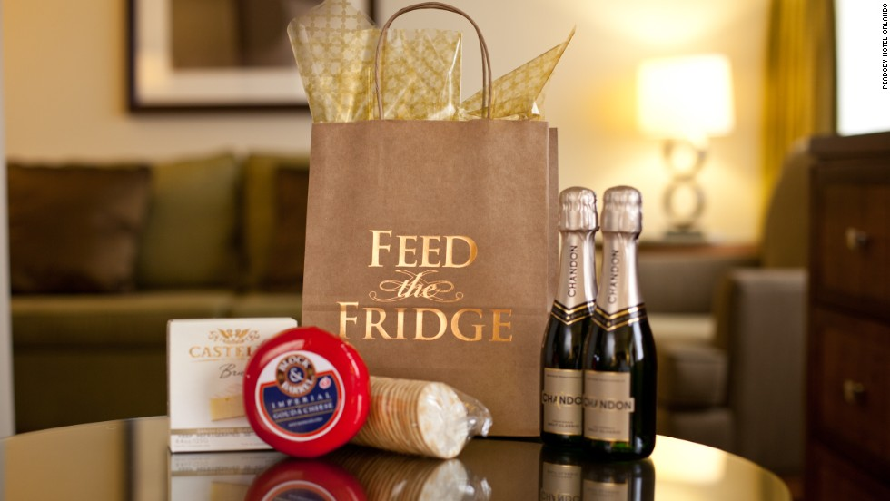 "Can hotels refresh the flagging minibar concept? The <a href=""http://www.peabodyorlando.com/"" target=""_blank"">Peabody Hotel</a> in Orlando think so. They've replaced the minibar with a scheme called ""Feed the Fridge"" which allows guests to order themed bundles of snacks and drinks. The 'Tiny Bubbles' package (pictured) includes two bottles of champagne for $20. Brie and crackers can be added for an extra $4."