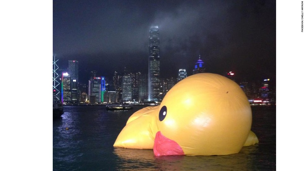 Bad night: Rubber duck recreates a scene more familiar in Hong Kong's Lan Kwai Fong or Wan Chai bar areas.