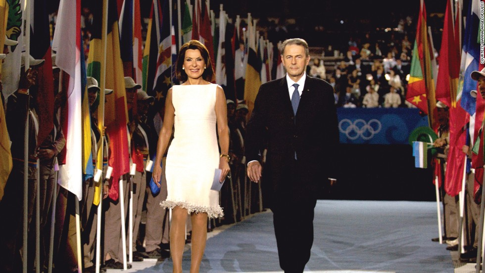 Jacques Rogge, President of the International Olympic Committee, and Angelopoulos at the opening ceremony of the Athens Olympic Games in 2004.