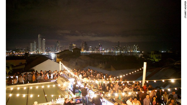 Big city, big lights, at Tantalo Hotel's rooftop bar.