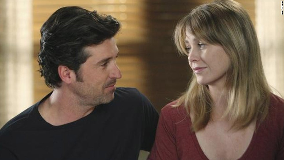 "Meredith Grey (Ellen Pompeo) was not pleased when she discovered that her love Derek Shepherd (Patrick Dempsey) had a wife on ""Grey's Anatomy."""