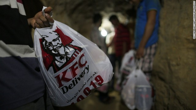 Deliveries of KFC move through a tunnel beneath the Gaza-Egypt border this week.