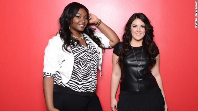 """American Idol's"" final two, Candice Glover and Kree Harrison."