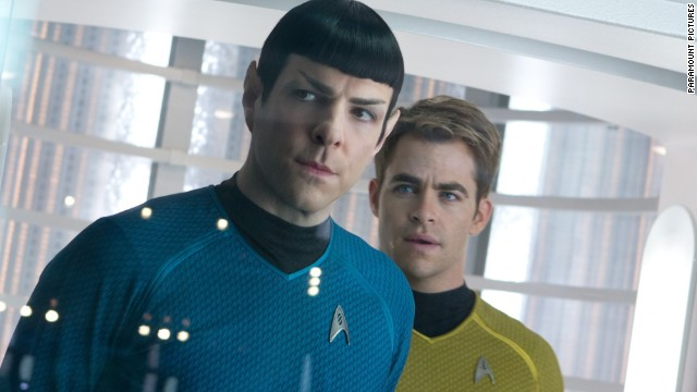 "Zachary Quinto and Chris Pine portray Spock and Kirk, respectively, in 2013's ""Star Trek Into Darkness."""