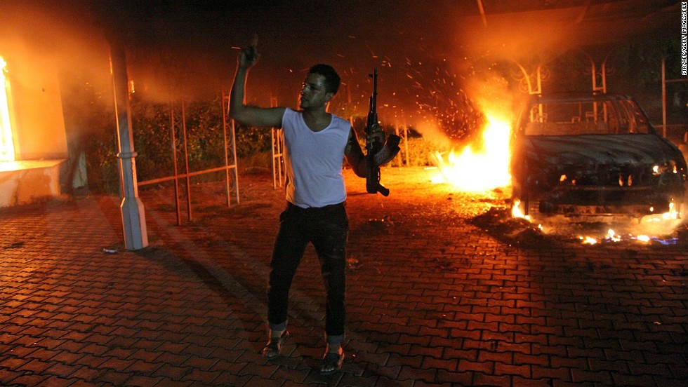 "Demonstrators set the <a href=""http://www.cnn.com/2012/11/09/world/africa/libya-benghazi-timeline/index.html"">U.S. Consulate compound in Benghazi, Libya,</a> on fire on September 11, 2012. The U.S. ambassador and three other U.S. nationals were killed during the attack."