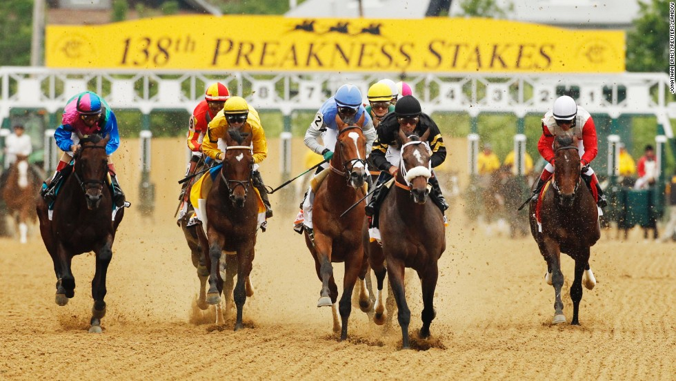 Oxbow, second from right, grabbed the lead out of the gate and never let go.