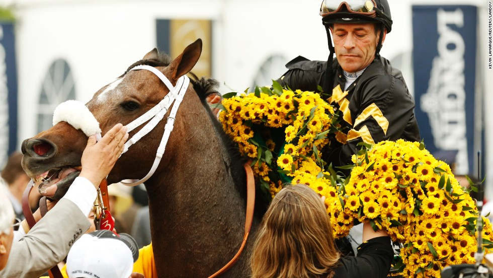 Oxbow receives a large garland of black-eyed Susans, the traditional