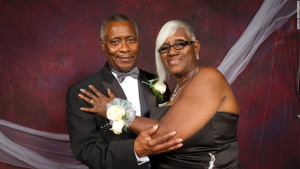 Eugene and Ethel Arms pose for their prom photo.
