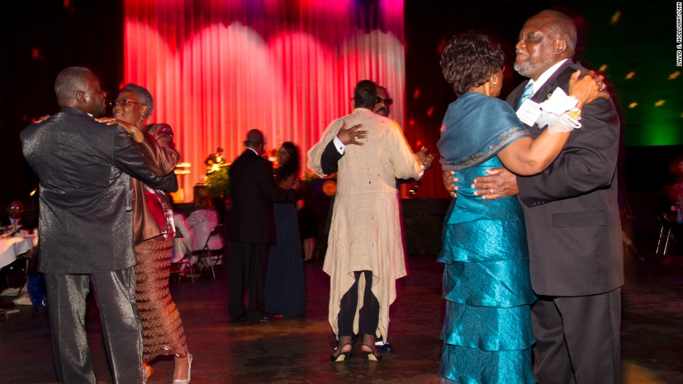 "The music included songs by Aretha Franklin, Etta James, The Temptations, just what you would expect at a 1960s prom.  But the song that drew the most bodies to the dance floor was ""The Wobble,"" <br />a hip-hop number with an accompanying line dance."