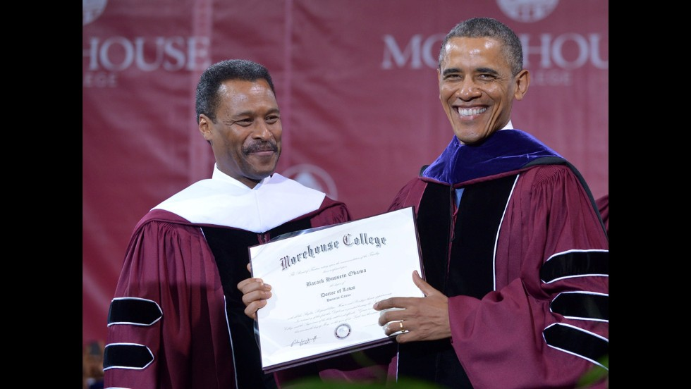 Wilson presents Obama with an honorary degree.