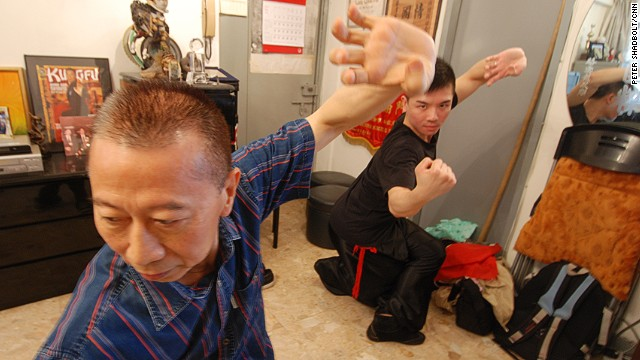 Lam Chun-fai Sifu with his son Oscar display one of the Hung Kuen kung fu stances