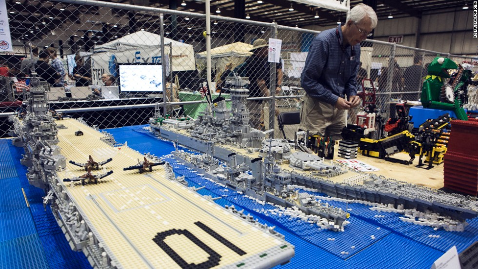 Legos were everywhere at the Maker Faire, whether as part of displays or in piles for children to play with. Makers used Legos to build these elaborate model battleships.