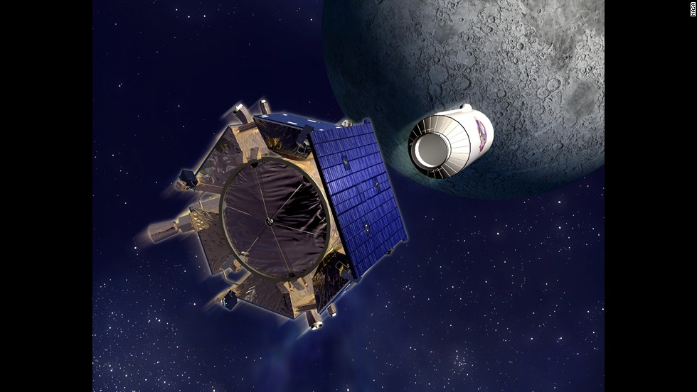 The Lunar Crater Observation and Sensing Satellite, or LCROSS, found the presence of water molecules when it was purposefully crashed into the moon to collect data from beneath the surface on October 9, 2009.  The satellite is shown in this artist's rendering.