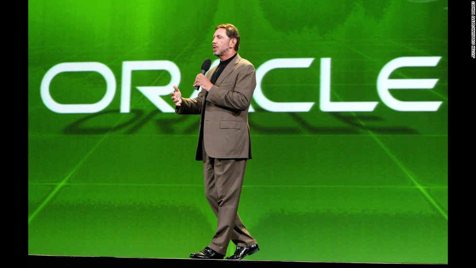 The computer tech corporation Oracle purchased ATG, provider of eCommerce software and other commerce applications, for approximately $1 billion in the form of $6 per share in cash in November 2010. Pictured, Oracle CEO Larry Ellison speaks in September 2003.