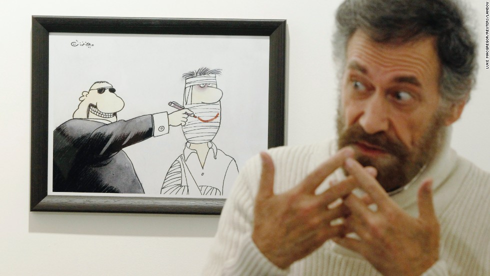 Initially, Ferzat's cartoons depicted nameless people. Over time, he started drawing identifiable images of Syrian leaders to mock them directly.