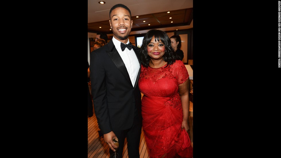 """Fruitvale Station's"" Michael B. Jordan and Octavia Spencer attend the movie's Cannes screening dinner on May 16."