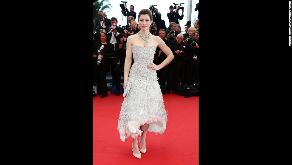 "Jessica Biel attends the ""Inside Llewyn Davis"" screening at Cannes on May 19."