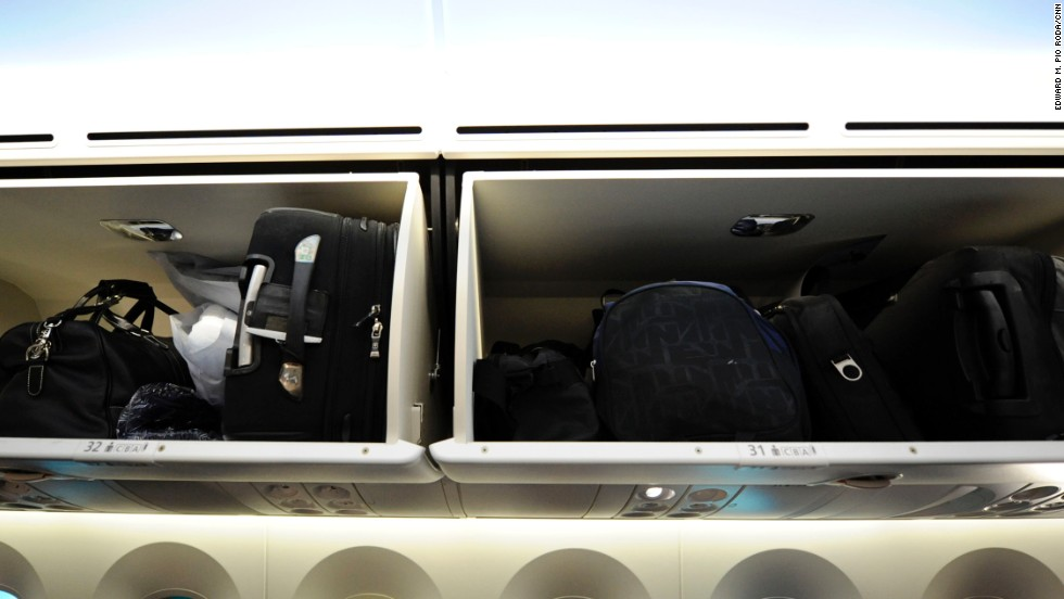 The Dreamliner has larger overhead bins than similar airliners.