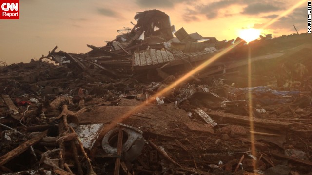 A first responder captured this photo at the scene of the devastated Plaza Elementary School in Moore, Oklahoma.