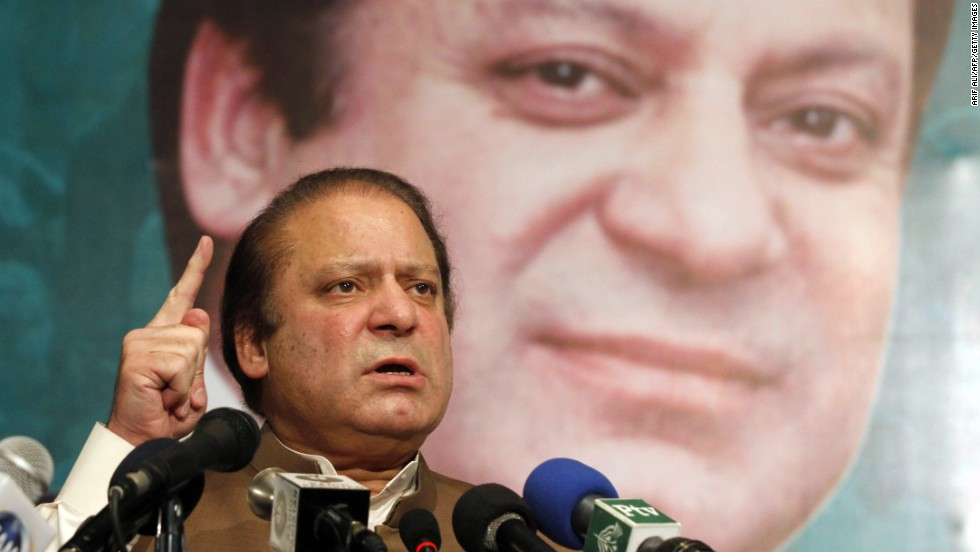 Pakistan's incoming prime minister, Nawaz Sharif, speaks in Lahore on May 20.