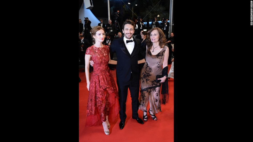 "James Franco attends the Cannes premiere of ""As I Lay Dying"" with Ahna O'Reilly and Beth Grant."