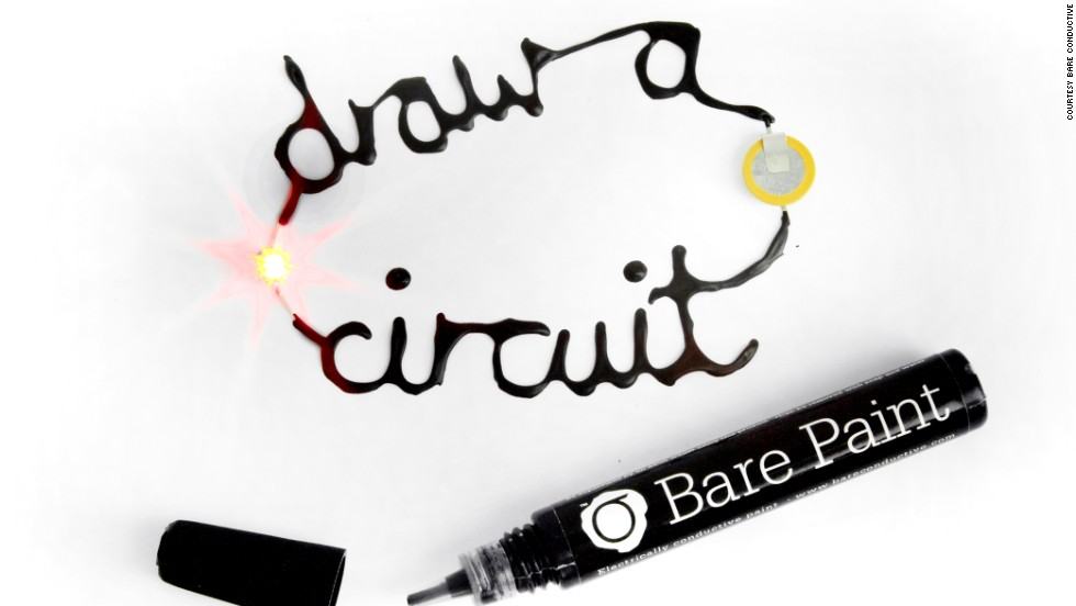 "<strong>Bare Conductive Electric Paint.</strong> Think of it as<a href=""http://www.cnn.com/2013/05/23/tech/innovation/bare-electrically-conductive-paint/""> ""liquid wiring.""</a> BarePaint can be drawn on a variety of surfaces with just a pen, and when it dries, it will conduct electricity. It's not a new idea, but the product is more flexible than industrial versions and nontoxic. Light it up! ($24.95 for 50ml of paint; $9.95 for a 10ml pen)"