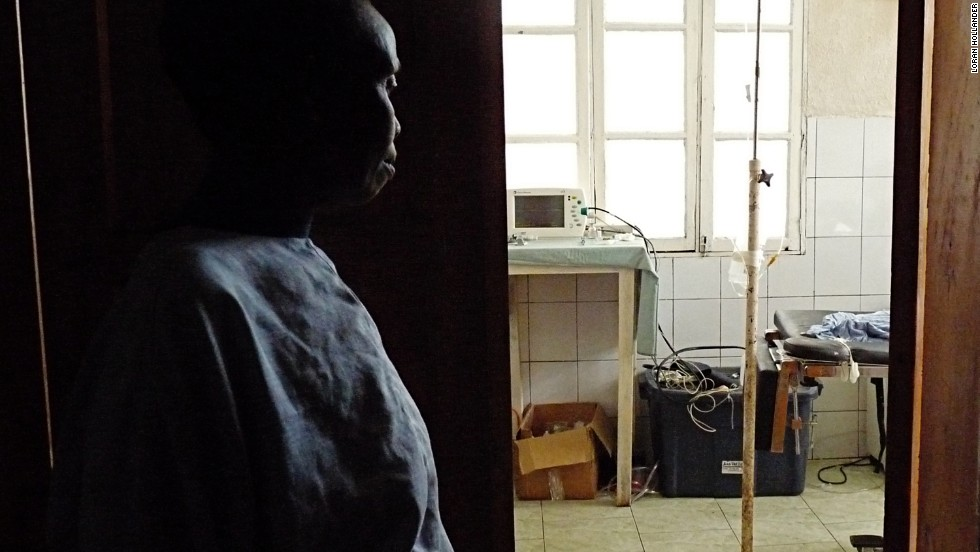 This woman, who has suffered from fistula for 20 years, watches as staff prepare for her surgery.