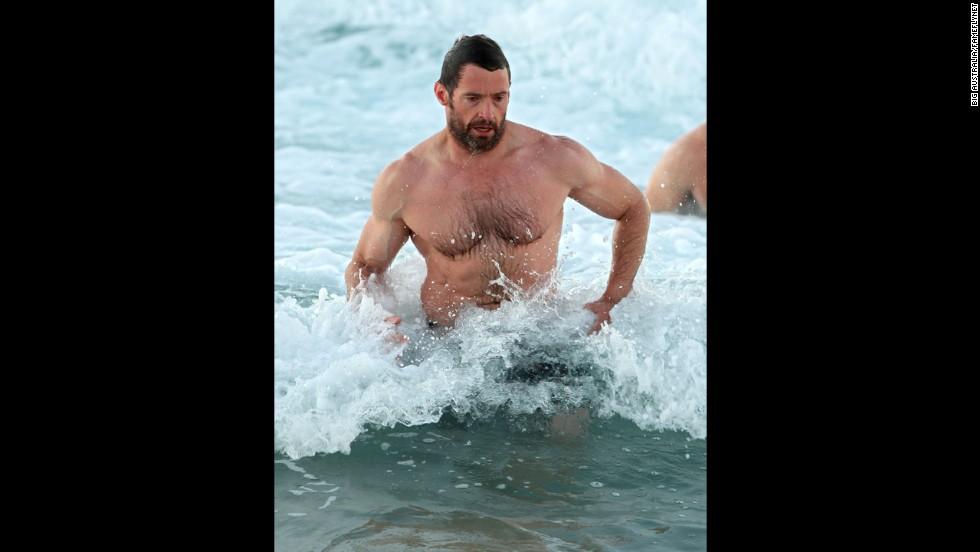 """Wolverine"" star Hugh Jackman enjoyed an early morning swim at Bondi Beach in Sydney in July 2012."