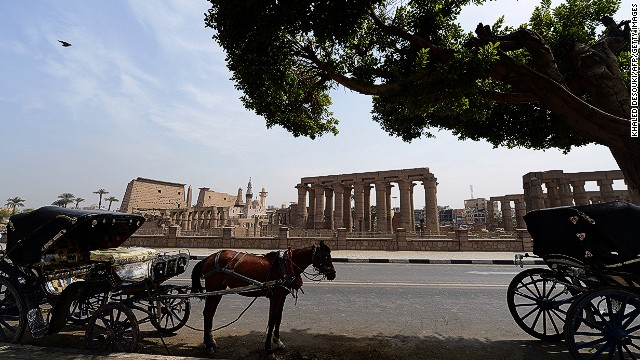 Horse-drawn carriages stand empty in Luxor, Egypt, the day after a hot air balloon explosion killed 19 earlier this year. The tragedy was one of a string of setbacks to the country's tourism industry.