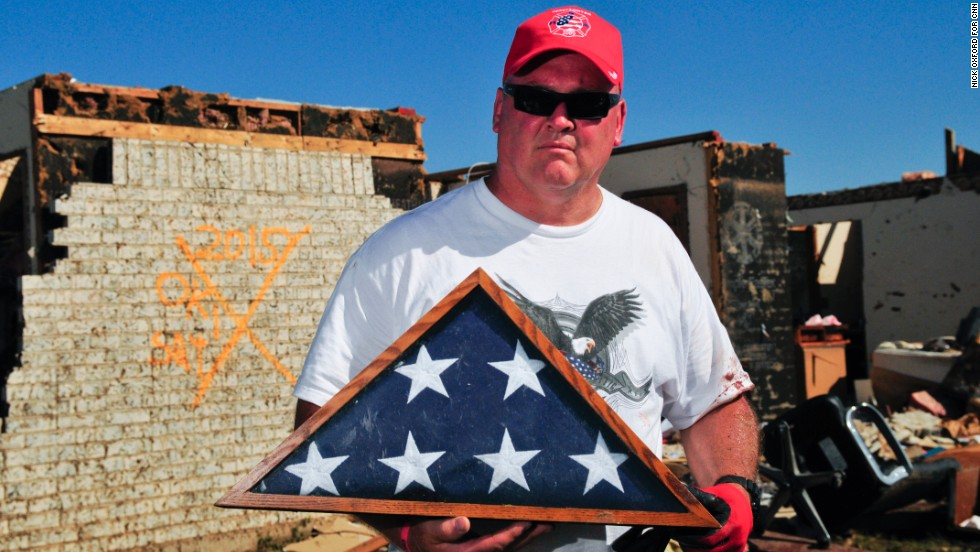 Jon Cook salvaged a flag that was presented to his family when his grandfather, a Korean War veteran, passed away.