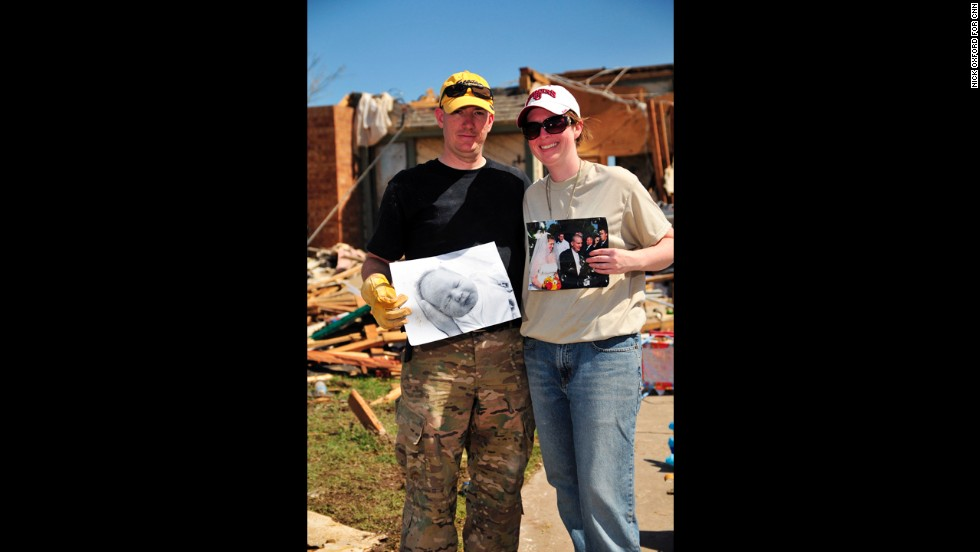 The items salvaged by Scott and Jill Ashbaugh included a photo of their 2-year-old son, Carter, and one of their wedding photos.