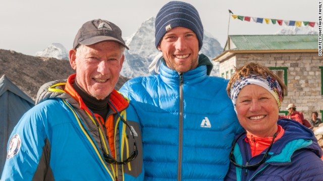 Jim, left, his wife, Dianne, and their son, Leif, near Everest base camp in 2012.