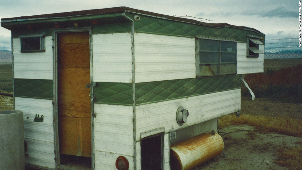 As a migrant worker on a farm in California's San Joaquin Valley, Quinones-Hinojosa lived in this trailer.