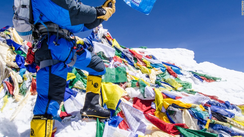 Leif Whittaker stands on the summit of Mount Everest on May 26, 2012.