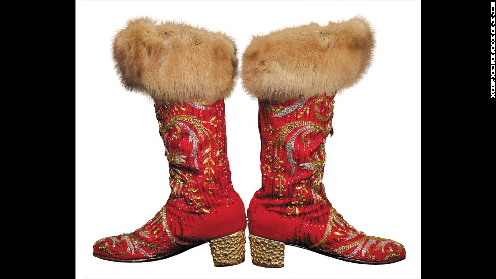 The 150-page tome offers more than 260 full-color photos of his items, like these red boots with fur.