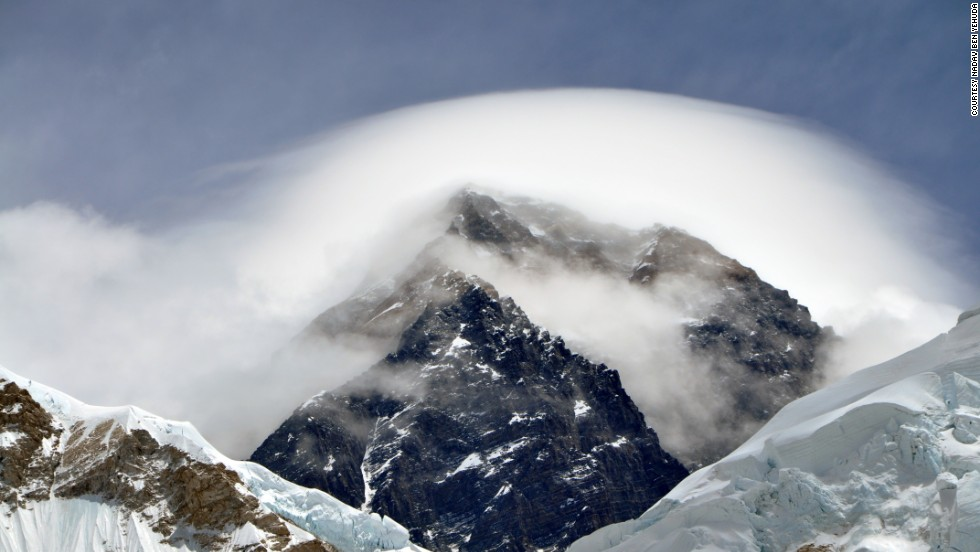 The mesmerizing view from Everest's Pumori Camp 1, showing the visual effects of the atmosphere.